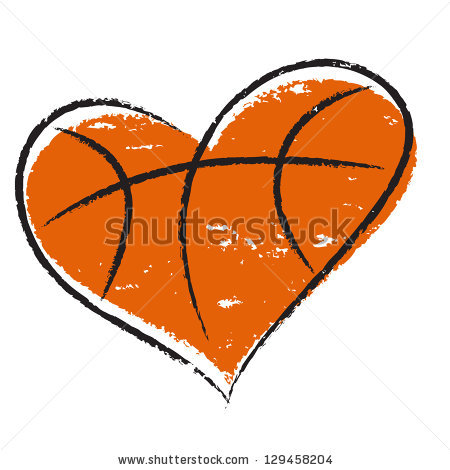 Basketball Heart Black And White.