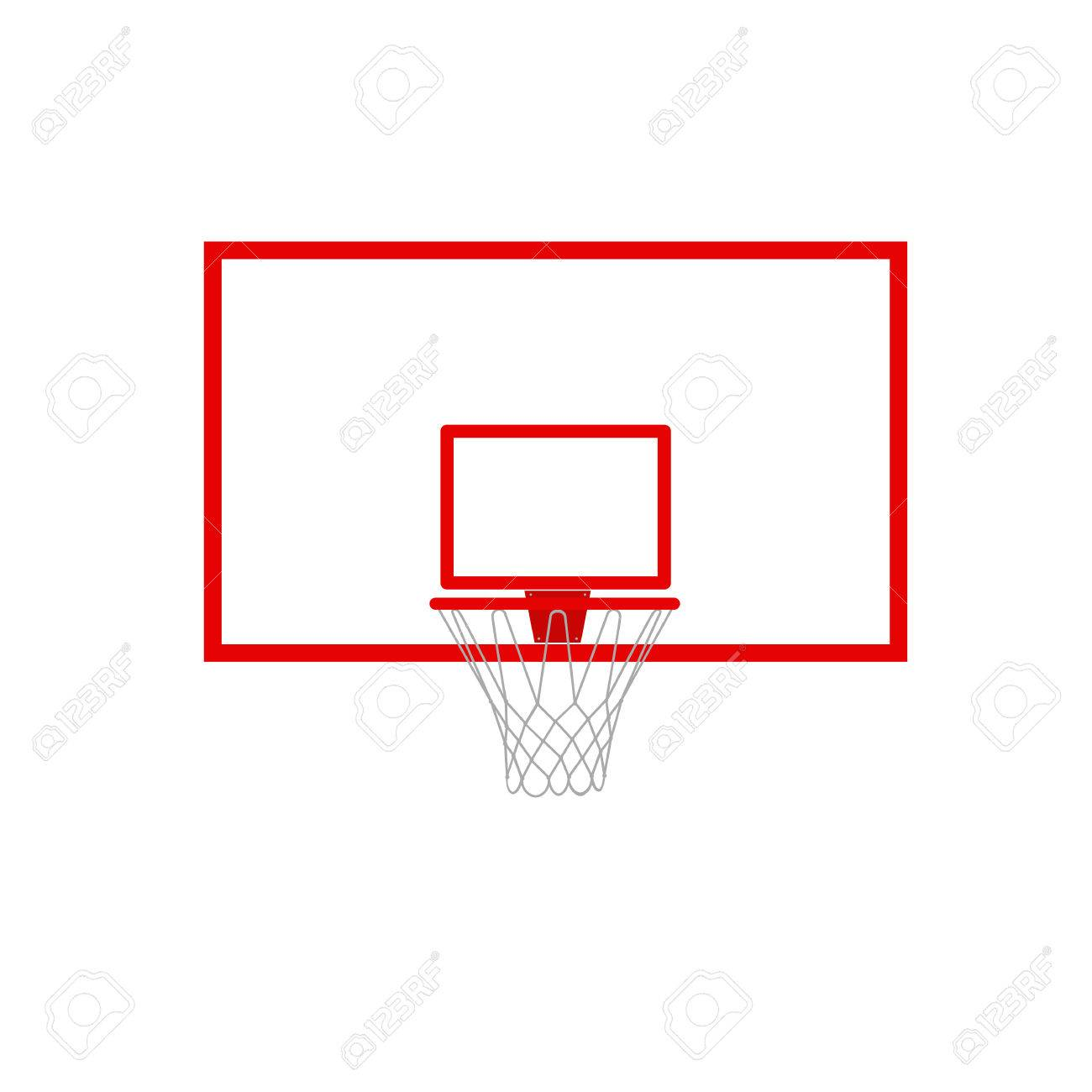 A vector illustration of a basketball hoop and backboard.