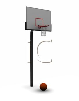 Royalty Free Clip Art Image: 3D Basketball Hoop.