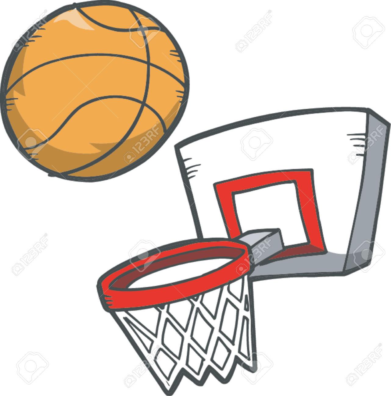 Basketball going through hoop clipart.