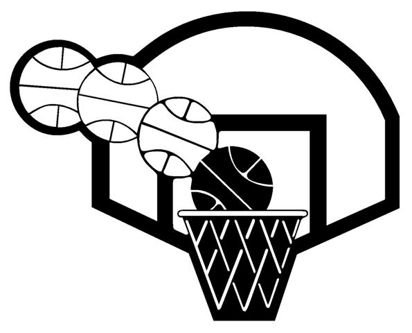 Basketball Hoop Clip Art Black And White Sketch Coloring Page.