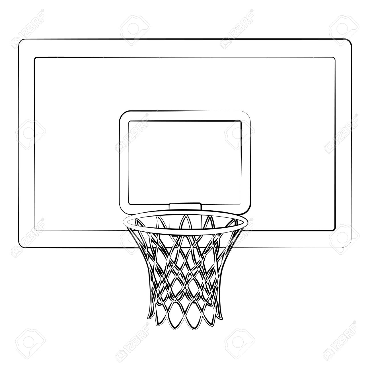 Black outline vector Basketball hoop on white background..
