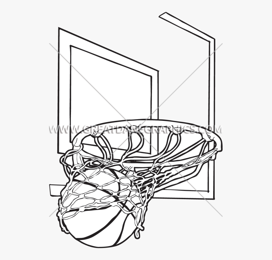 Pin Basketball Net Clipart Black And White.