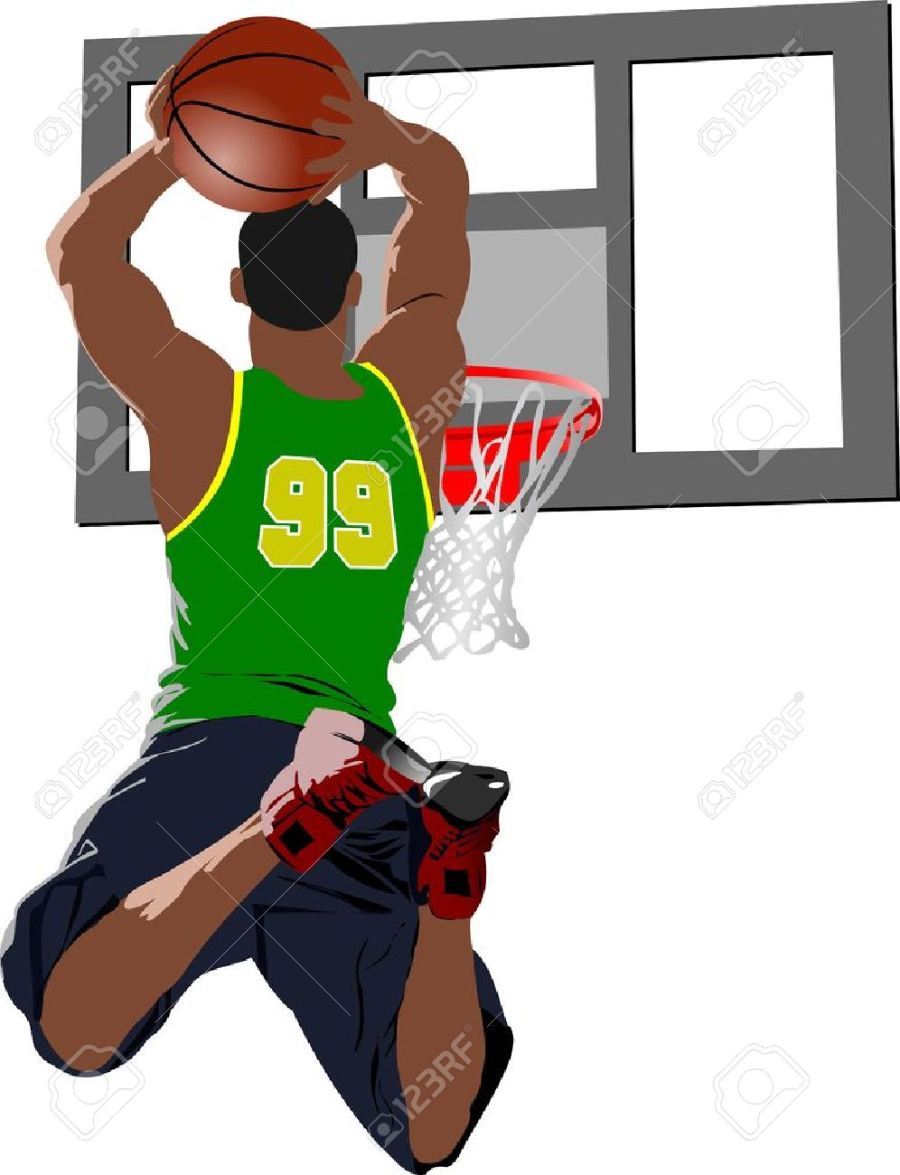 Basketball Players. Colored Illustration For Designers Royalty.