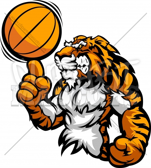 Basketball Tiger Clipart Vector Graphic.