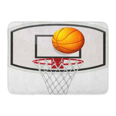GODPOK Game White Ring Basketball Net Ball Clipart Hoop Rug Doormat Bath  Mat 23.6x15.7 inch.