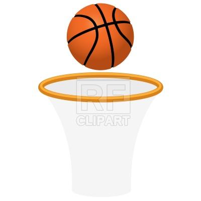 Basketball hoop net and ball Vector Image.