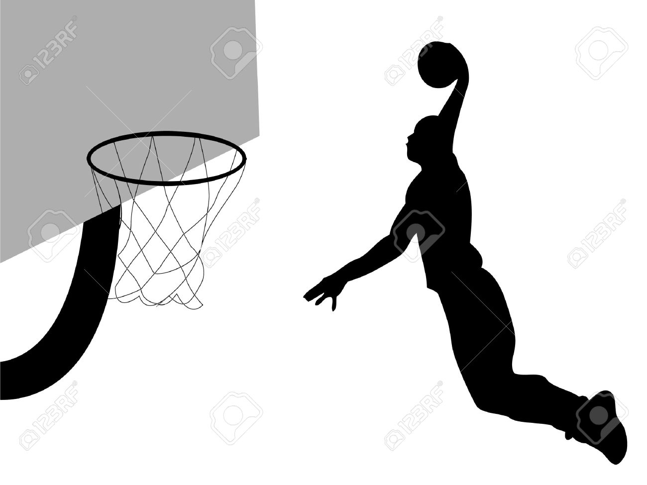 Basketball player dunking ball.