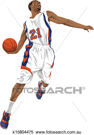 Vector of basketball player going for a slam dunk. Clipart.