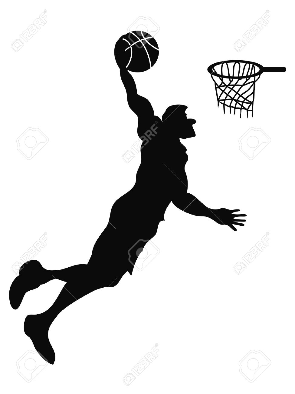 isolated the silhouette of Basketball player Slam Dunk from white...