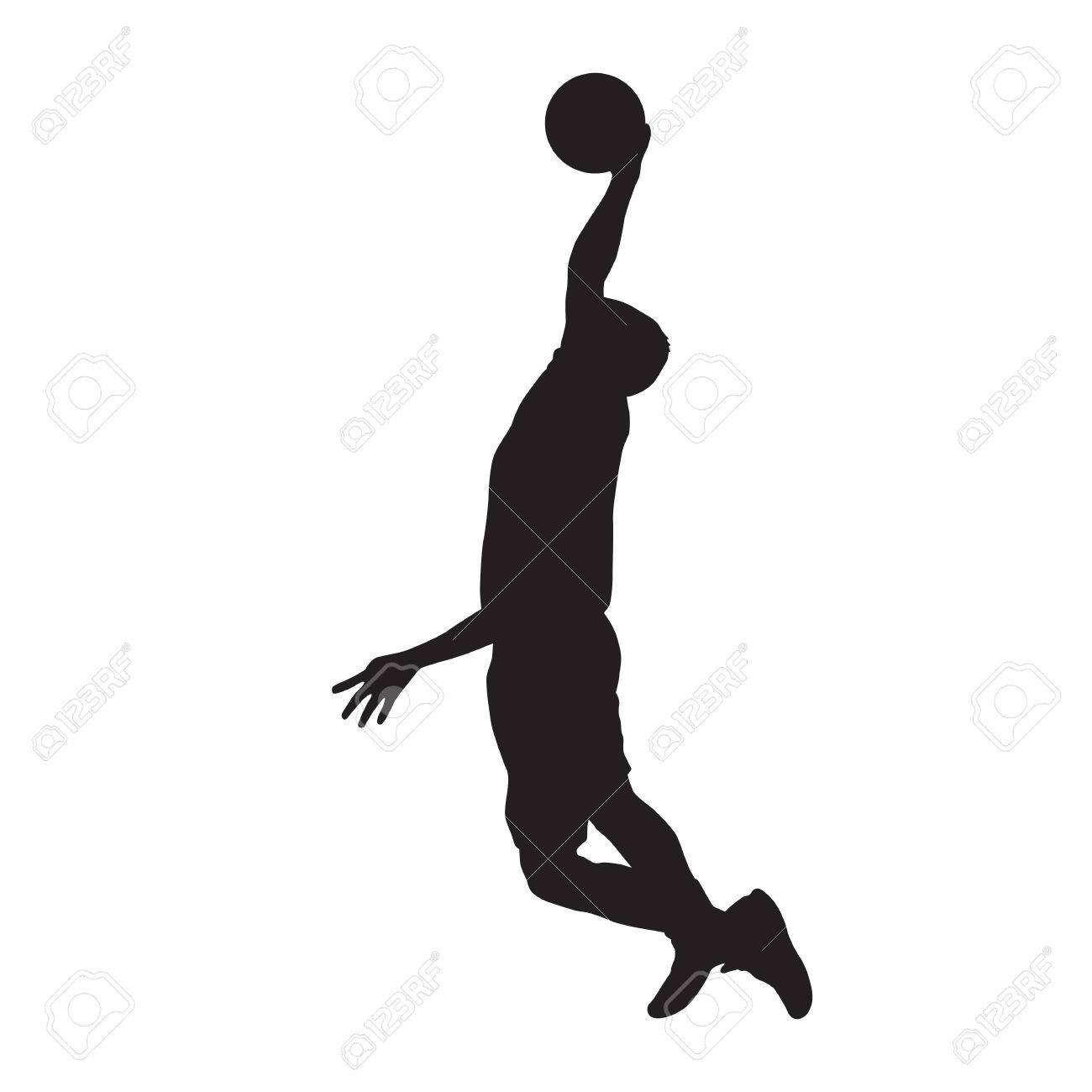 Basketball player dunking, isolated vector silhouette.