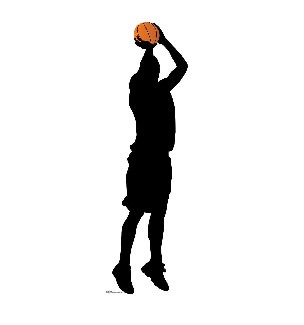 Silhouette Of Basketball Player Shooting.