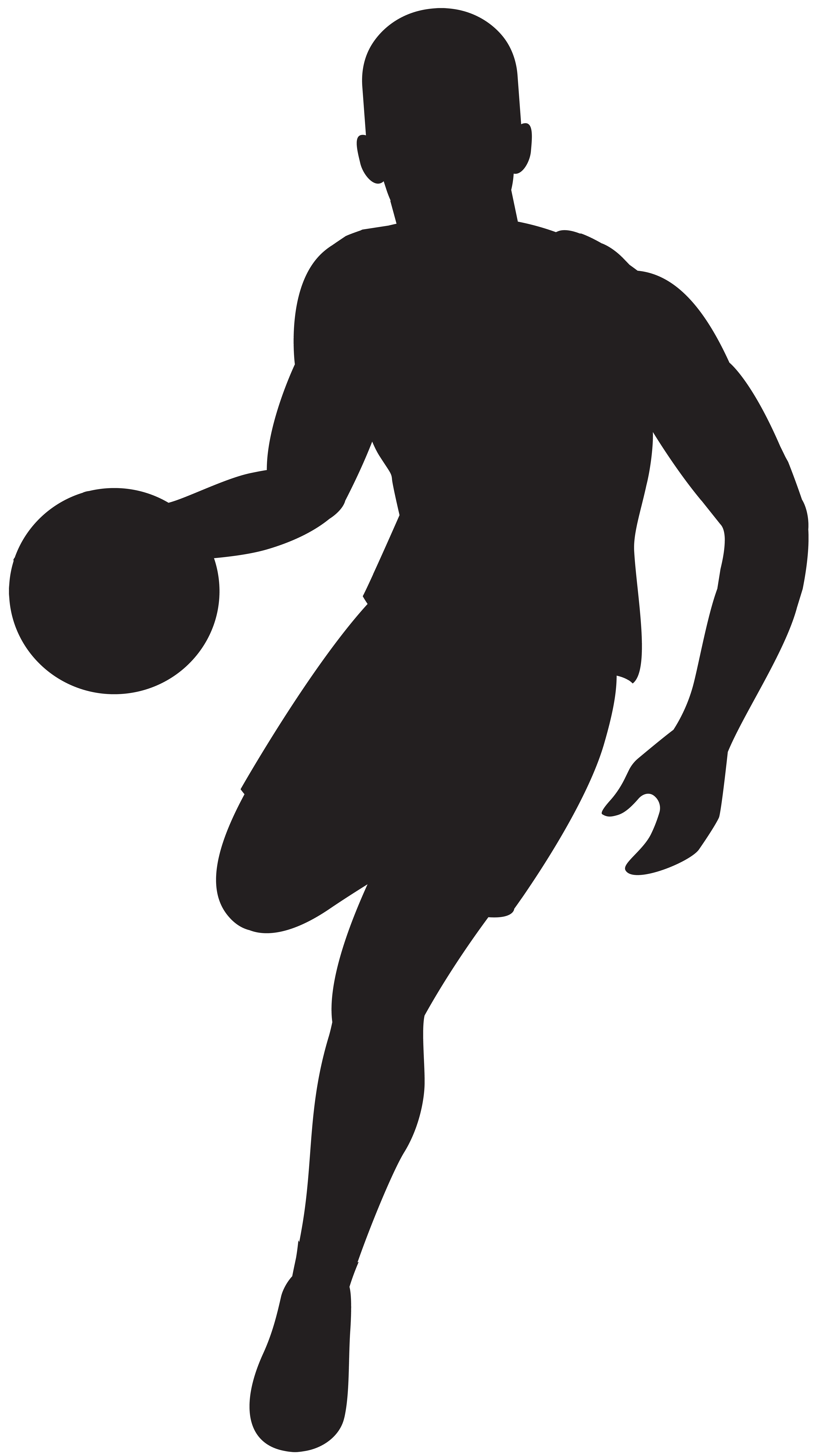 Basketball Player Silhouette Clip Art Image.