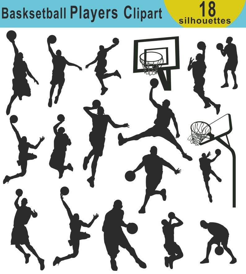 Basketball Player Silhouettes Clipart, Basketball Sport Silhouette Clipart,  Basketball Clipart, Basketball Silhouette Images, PNG JPG EPS.