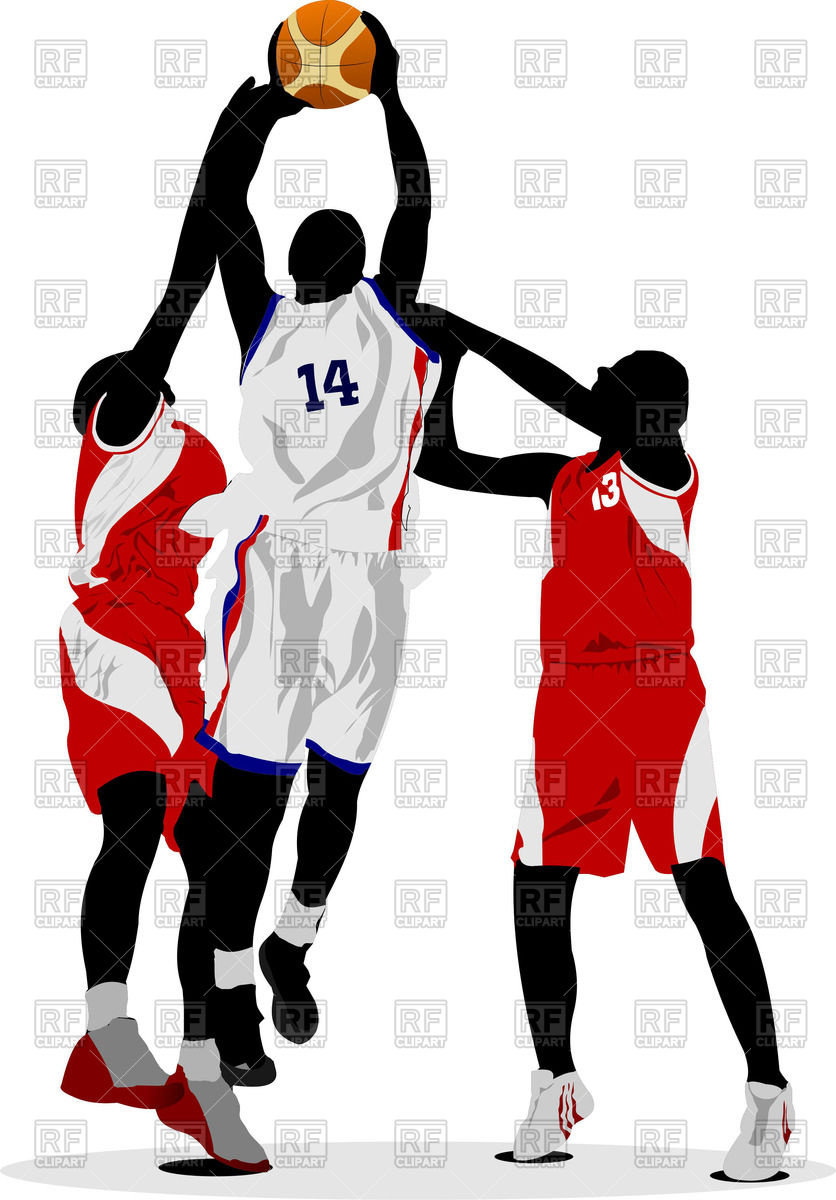 Basketball players in jump Stock Vector Image.