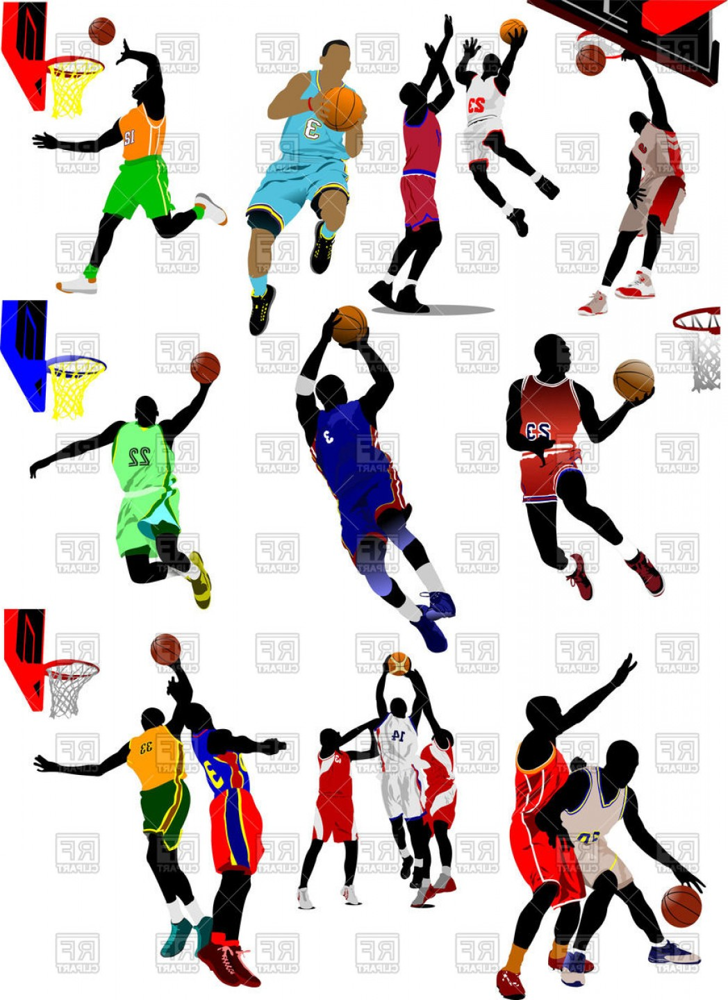 Colored Silhouette Of Basketball Players In Motion Vector Clipart.