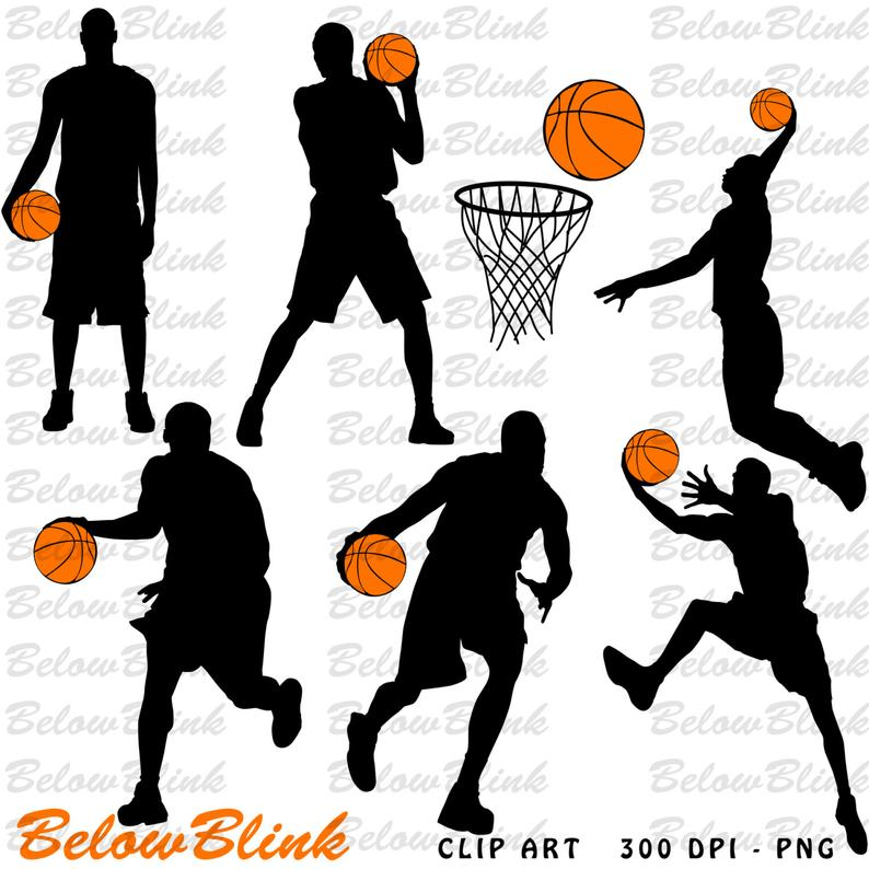 Basketball Players Silhouettes Clipart Clip Art Digital Scrapbooking  Commercial Use.