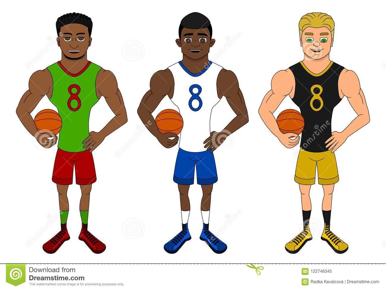 Cartoon Of Diverse Basketball Players Stock Vector.