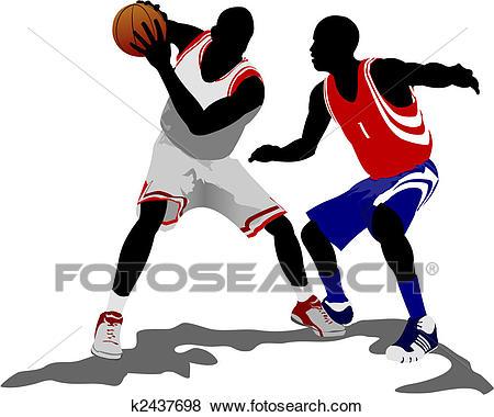 Basketball players. Vector illustration Clip Art.