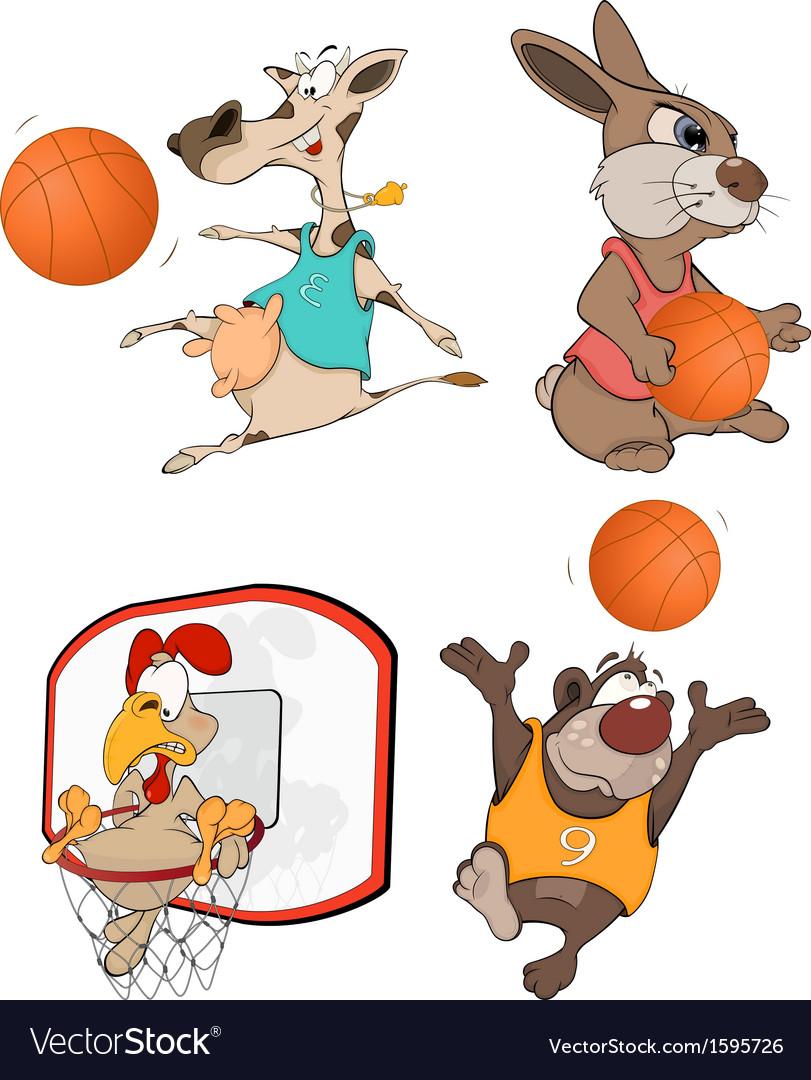 The basketball players Clip Art Cartoon.