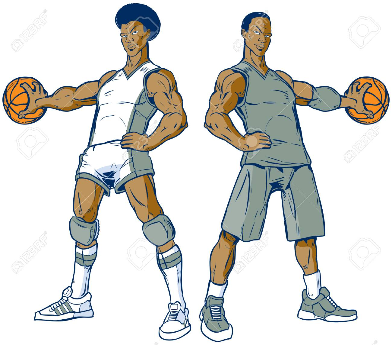 Vector cartoon clip art illustration of a set of two African...