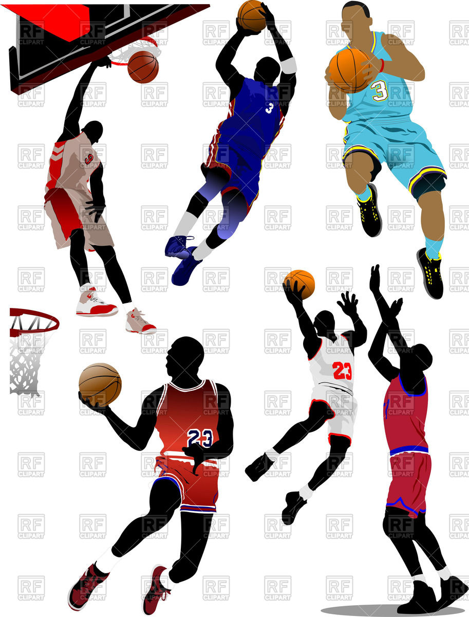 Basketball players with balls in motion.