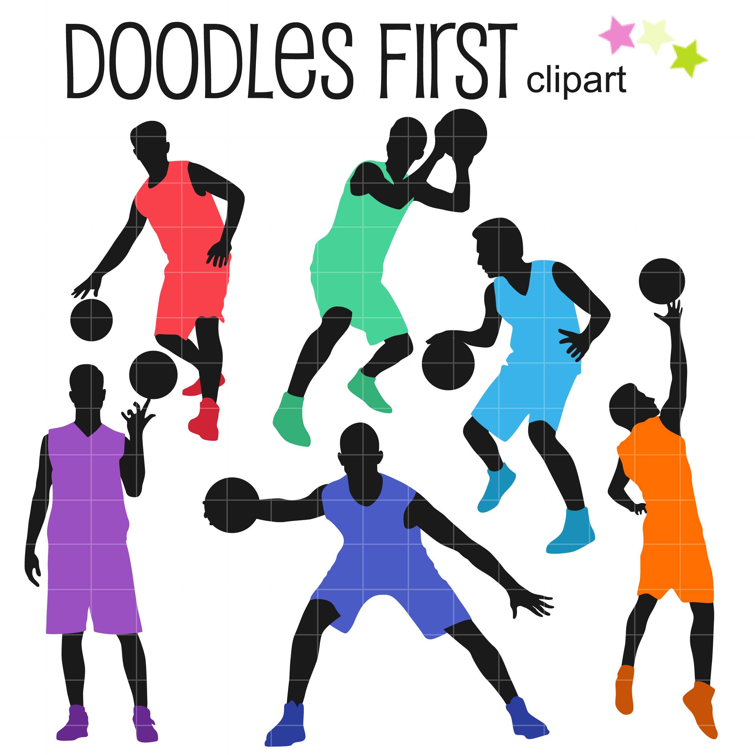 Basketball Players Silhouettes Clip Art Set.