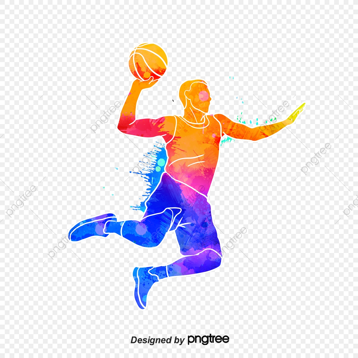 Silhouettes Of Creative Basketball Players, Multicolored, Character.