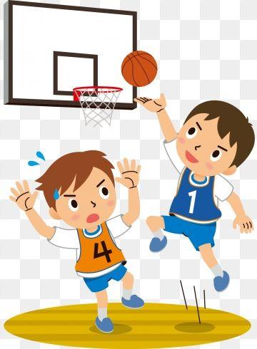 Hand Drawn Cartoon Teenager Playing Basketball Childrens Day.