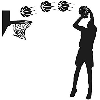 Amazon.com: DNVEN DIY Vinyl Basketball Players Shot Silhouette with.
