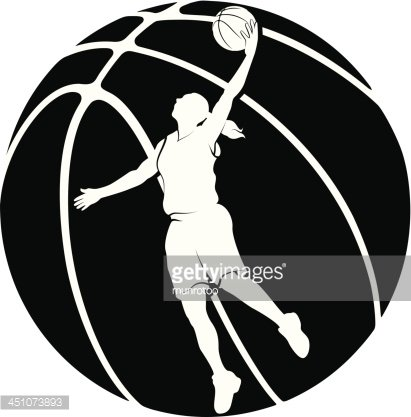 Girl Basketball Silhouette With Ball premium clipart.