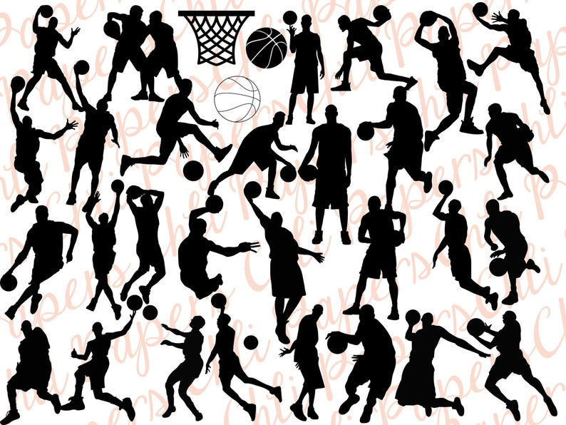 Basketball silhouettes clipart: