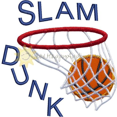 Slam Dunk Basketball Applique Design.