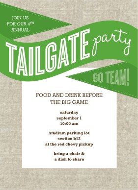 Printable Green Tailgate Party Invitation Template.