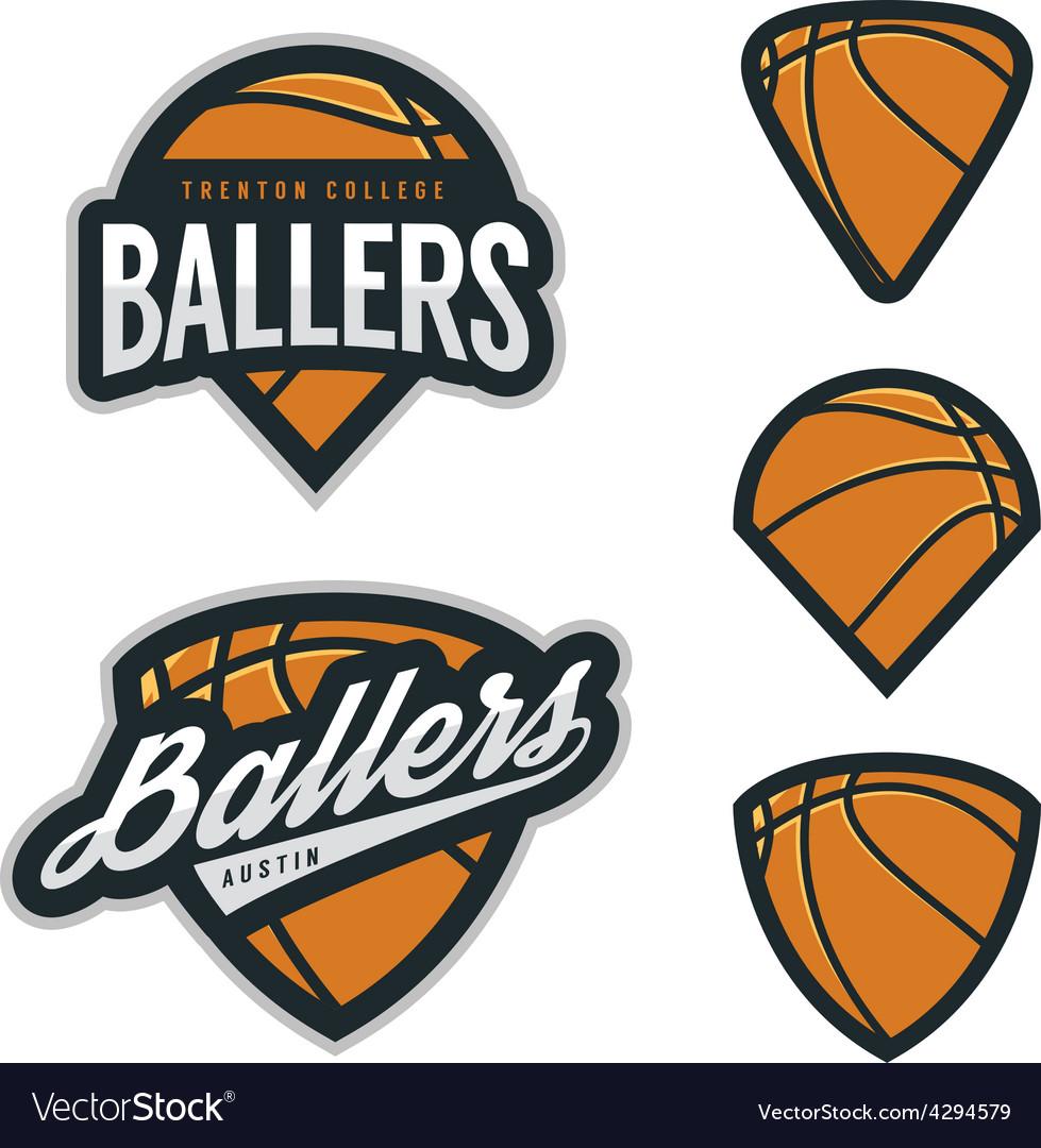 Set of basketball team emblem backgrounds.