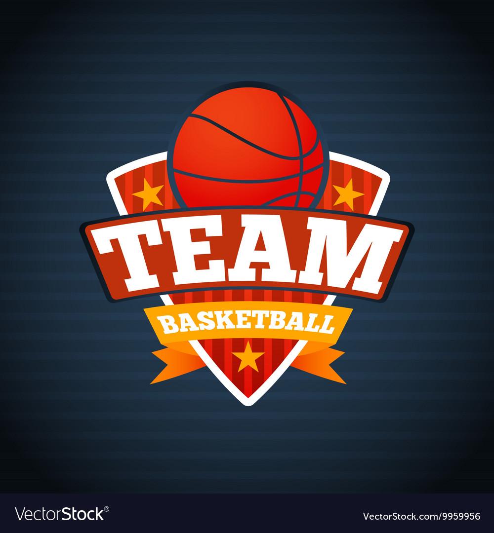 Basketball team logo template with ball stars and.