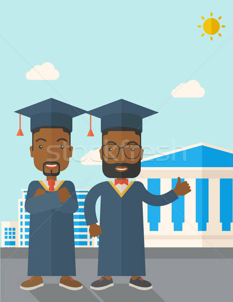 Two black men wearing graduation cap. vector illustration.