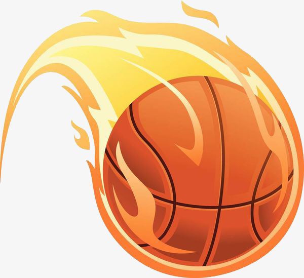 basketball with flames clipart #2