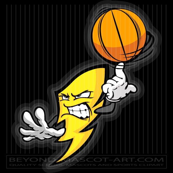 Basketball Lightning Bolt Clip Art Cartoon Vector Basketball.