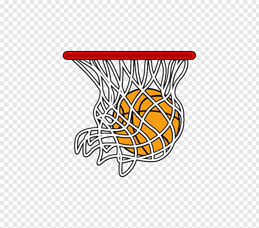 Red basketball hoop and orange basketball ball illustration.