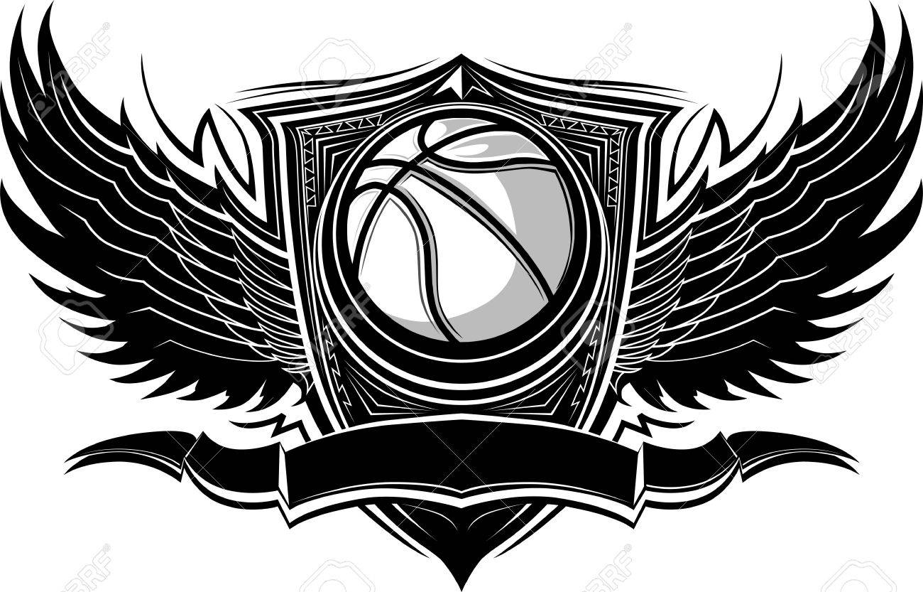 Basketball Ball with Ornate Wing Borders.