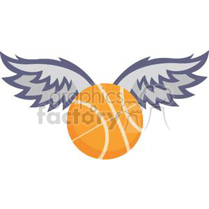basketball with wings clipart. Royalty.