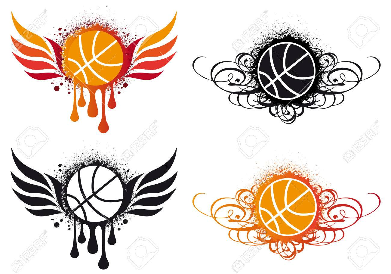 basketball with fire wing and ornament.