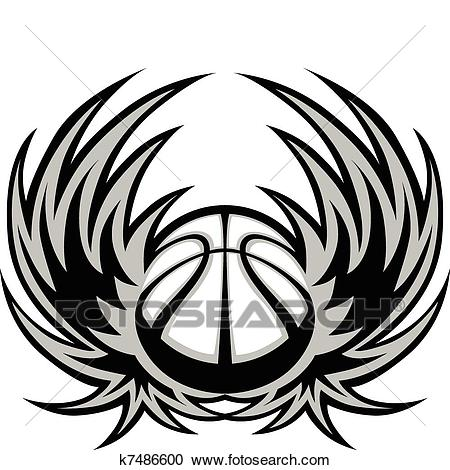 Basketball Template with Wings Clipart.