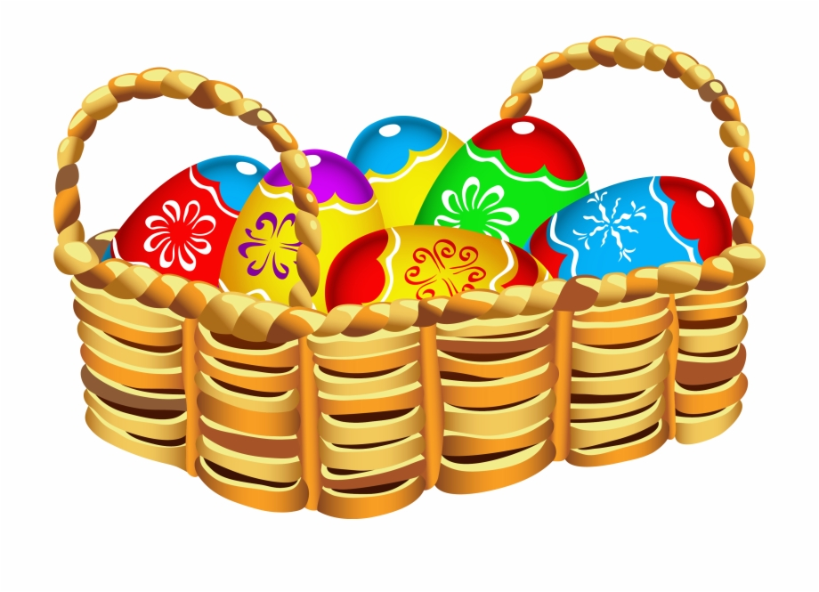 Square Basket With Easter Eggs Png Clipart.