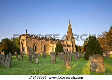 Stock Image of England, Derbyshire, Baslow. First light over the.