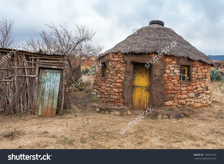 Old Lesotho Traditional House Rondavel Basotho Stock Photo.