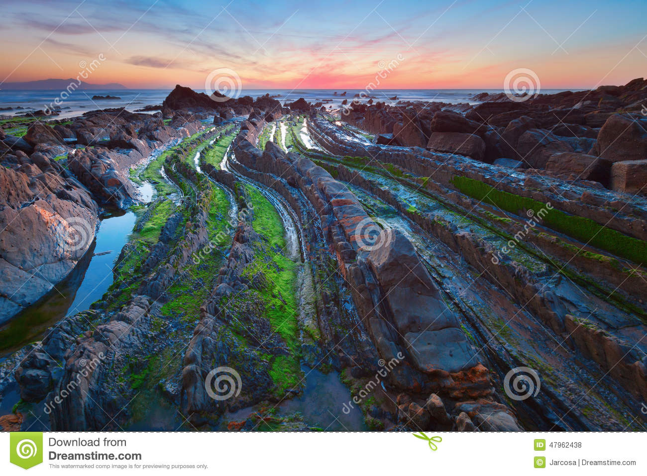 Flysch In The Basque Country Beach Barrika, Spain Stock Photo.