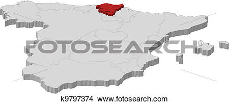 Clipart of Map of Spain, Basque Country highlighted k9797374.