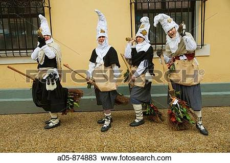 Stock Photo of Women dressed up as Basque folk witches, carnival.